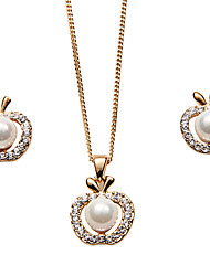 A 3 Set Of 1 Lobster Claw Clasp Necklace and 2 Earrings with 18k Gold Plating Alloy and Freshwater High Luster Pearl
