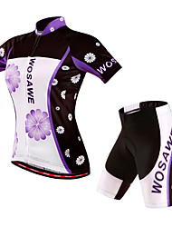 WOSAWE Cycling Jersey with Shorts Women's Short Sleeves Bike Shorts Padded Shorts/Chamois Jersey Clothing Suits Quick Dry Windproof