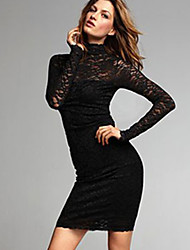 Women's Turtleneck Lace/Backless Dress , Lace Above Knee Long Sleeve