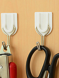 Set of 6 Self Adhesive White Wall Hanger Sticky Door Hooks Home Aid