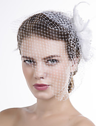 Women Feather/Fabric/Net Birdcage Veils With Multi-stone Wedding/Party Headpiece