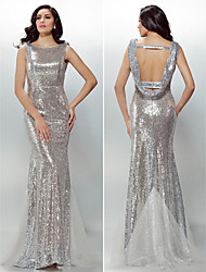 Formal Evening Dress - Silver Plus Sizes / Petite Trumpet/Mermaid Jewel Sweep/Brush Train Sequined