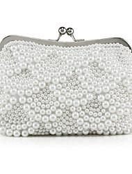 Sac de soirée/Pochette ( Blanc/Beige , Crystal / strass/Perle simulée ) Cristal / Stras/Perle simulée/Polyester