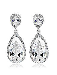 larme grande boucle d'oreille zircon cubique mariage Pendants d'oreilles plaqué or mariée mode de luxe bijoux de soirée
