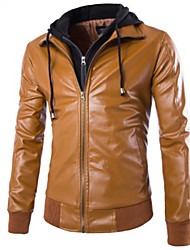 Men's Fashion Casual Long Sleeve Removable Hood Leather Coat