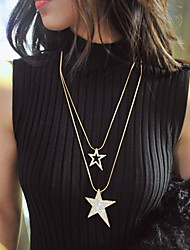 Pentagram Sweater Chain  Double  Necklace