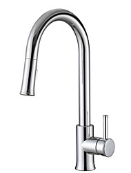Traditional Solid Brass Single Handle Pull Down Kitchen Faucet Chrome