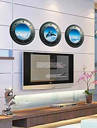 3 pc cielo finestra warplane pvc decalcomanie muro adesivo da parete