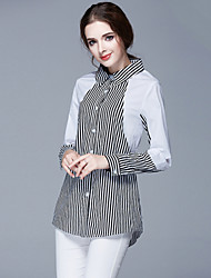 Large code women's 2015 fall new long sleeved black and white striped shirt fashion stitching office female style OL
