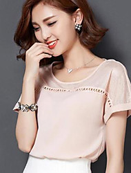 Women's Solid/Patchwork Pink/White/Black Blouse , Casual/Work/Plus Sizes Round Neck Short Sleeve Hollow Out