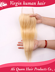 Ali Queen hair  products Closure Bleached Knots 4*4 inches,6a Virgin Human Blonde 613 Closure Free Part