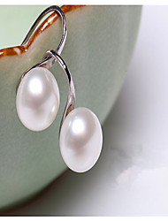 2015 New and Fashion Korean Freshwater Pearl Drop Earring Cute Silver Plated/Pearl Drop Earrings
