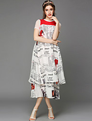 Summer Large Size New Fashion Women Plus Size Short Sleeve Casual Print Double Layer Patchwork Dress Lady Dress