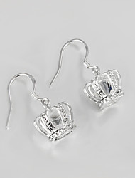 Hot Sale Wedding Dress Crown Design Silver Plated Drop Earrings for Lady High Quality