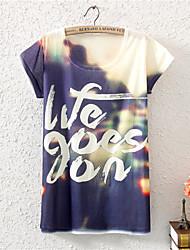 여성의 라운드 넥 짧은 소매 티셔츠 면혼방
