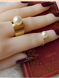 Women's Alloy Ring With Pearl Set(2 pcs)