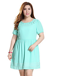 Prettyshow 2015 Summer New Style Oversize Lady O-neck Short Sleeve Slimming Cute Summer Dress Q7553