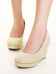 Women's Shoes Synthetic Wedge Heel Wedges Pumps/Heels Wedding Red/Gold