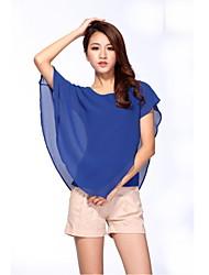 Feminino Blusa Casual Simples Moda de Rua Todas as Estações,Sólido Decote Redondo Manga Curta Fina