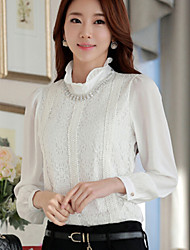 Women's Graceful Work Lace Spliced Stand Long Sleeve T-shirt