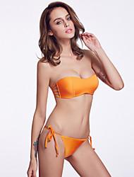 The Fille Women's  Simple Silhouette /Bodyfit Push-up/Wireless/Padded Bras Orange Bandeau Bikini Tops