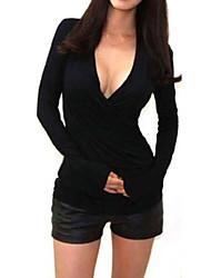 Women's Sexy Casual Cute Plus Sizes Micro Elastic Long Sleeve Regular Shirt (Knitwear)