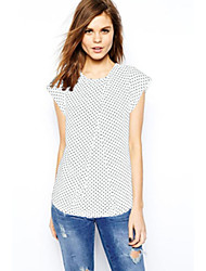 Mulheres Blusa Casual Simples Verão,Poá Branco / Preto Decote Redondo Manga Curta Fina
