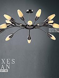 incasso 16 luci vetro metallo semplice 220v moderno di moda