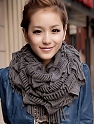 Women Tassel Thickening Pure Color  Long Wool Scarf