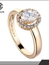 Sjeweler Girls Beautiful Promise 18k Gold Plate Zircon Ring