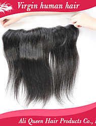 Ali Queen hair products Brazilian Straight Lace Frontal Closure With Baby Hair 13x4 Virgin Straight Human Hair