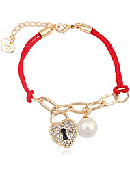 Cute Alloy Rhinestone European Style Fashion Lucky Red Rope Heart lock Charm Braided Cord Bracelet
