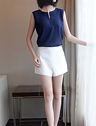 Women's Solid Blouse , V Neck Sleeveless Button/Hollow Out