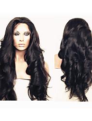 virginal del cuerpo del pelo de la onda sin cola de encaje completo pelucas de cabello humano brasileño para las mujeres negras de 10