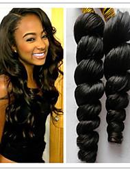 """3pcs / lot brasileña virginal del pelo pelo de la onda suelta suelta la onda del pelo humano 8 """"-34"""" color natural # 1b del pelo teje"""
