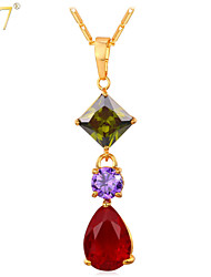 U7® Women's Gold Long Pendants 18K Gold/Platinum Plated Colorful Cubic Zirconia Jewelry Purple Red Gemstone Necklaces