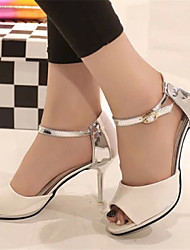 Women's Shoes Stiletto Heel Open Toe Sandals Dress White/Gray