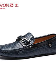 Men's Fall Moccasin / Pointed Toe Leather Office & Career / Casual / Party & Evening Flat Heel Chain / Slip-on Black / Blue / Brown