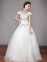 Ball Gown High Neck Tea-length Wedding Dress (Chiffon/Organza)