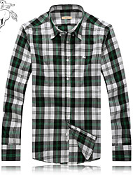 Men's Casual/Work/Formal/Plus Sizes Plaids & Checks Long Sleeve Dress Shirt (Cotton)