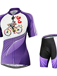 Arsuxeo Cycling Jersey with Shorts Women's Short Sleeve Bike Breathable Quick Dry Anatomic Design Back Pocket YKK ZipperJersey + Shorts