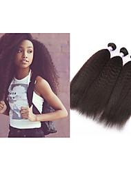 "3pcs/lot 10""-34""Mongolian Virgin Hair Mongolian Kinky Straight Weft Weave #1B 300gMink Hair Extension"