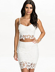 Women's Lace Bustier Top Skirt Set