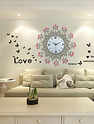 Modern/Contemporary Floral/Botanicals Wall Clock,Round Metal 57 x 57 x 3cm(22.44 x 22.44 x 1.18inch) Indoor Clock