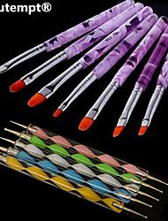 7pcs акриловые 2in1&УФ гель кисть нейлон волос образца воды ручка с 5шт 2-полосная расставить marbleizing пера инструмент