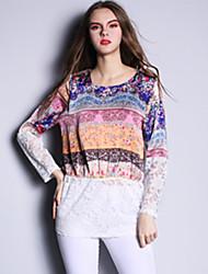 Summer Fashion Women Ethnic Print Patchwork Lace Plus Long Sleeve Blouse Shirt Tops