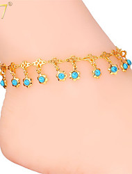 U7® Women's Blue Turquoise Stone Charms Ankle Chains 18K Gold/Platinum Plated Sandal jewelry Summer Anklets Bracelets
