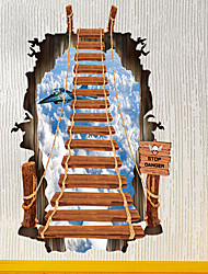 3D Staircase Wall Stickers Personalized Fashion Ladder Sky Aircraft Wall Stickers