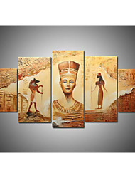 Hand-Painted Abstract Ancient Egyptian Oil Painting on Canvas  5pcs/set No Frame