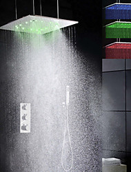 Robinet de douche - Contemporain - LED / Thermostatique / Douche pluie / Douchette inclue - Laiton (Chromé)